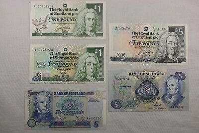 High Grade Lot of 5 1990's 1 & 5 Pounds Notes Bank of Scotland, Ilay & Scott