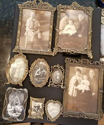 Lot of 9 Vintage Metal Gold Finish Lace Ornate Filigree Photo Picture Frames