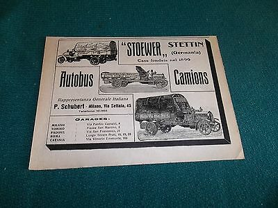 pubblicità 1912 AUTOBUS CAMIONS STOEWER STETTIN,CEIRANO SCAT WERBUNG ADVERTISING