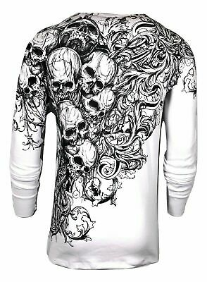 Xtreme Couture by AFFLICTION Mens THERMAL T-Shirt ACCUSER Skull Biker MMA GYM$58