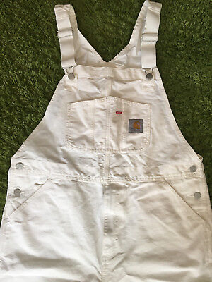 Carhartt WIP Mens Bib Overall 34x32 Brand New Off-White Perfect Condition