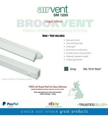 40cm Brookvent Aluminium SM 1200 Grey Window Trickle Vent + Same Day Dispatch