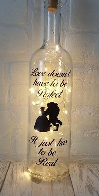 Beauty and the Beast Disney Gift light up bottle Birthday Valentines Day Gift
