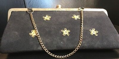 Vintage Art Deco Embrodiered Purse Black And Gold Clutch