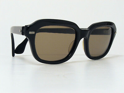 VINTAGE METZLER SUNGLASSES BLACK ACETATE 1960s GERMANY GLASS LENSES VERY RARE