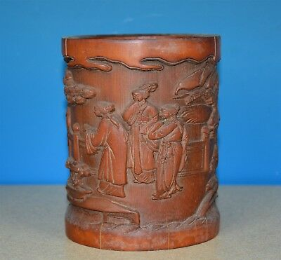 Fine Antique Chinese Bamboo Brush Pot Rare T9156