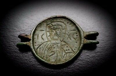 BYZANTINE BRONZE DOUBLE SIDED PENDANT FEATURES CHRIST ICXC & SAINT 7th-9th A.D.