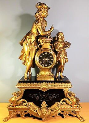 19th Century French Empire Ormolu and Black marble Mantel Clock, Very Large 23""
