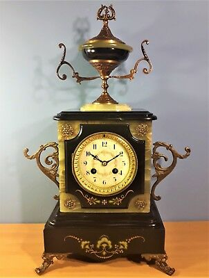 Antique French Marble Onyx and Bronze Mantel Clock by L. Marti 1889