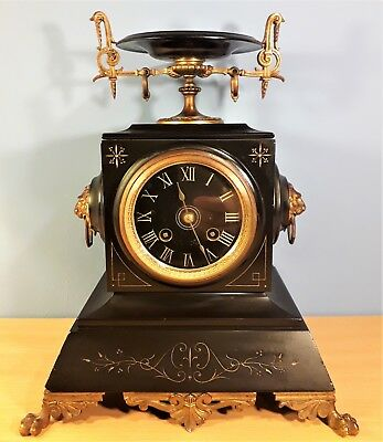 Antique French Marble and Ormolu Mantel Clock Marked - Rey Jne Brevete