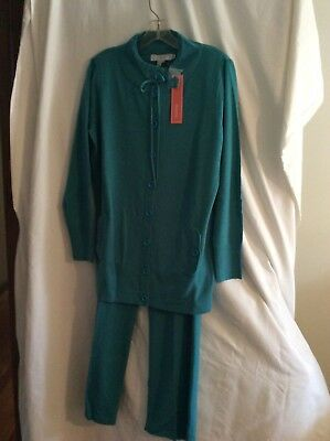 Tunic Top and Pant Set Size Medium NEW with Tag Beautiful Teal Soft Lightweight
