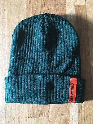 Jagermeister Knit Beanie Dark Green Winter Hat With Orange Logo NEW