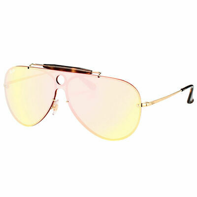 aaee18a8dc Ray-Ban Blaze Shooter RB 3581N 001 E4 Gold Sunglasses Pink Mirror Lens 32mm