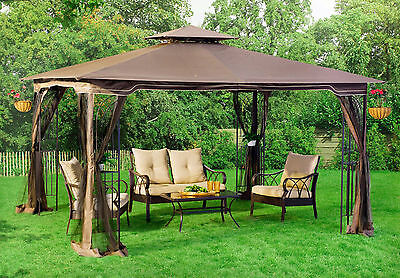 Patio Gazebo Canopy + Mosquito Netting 10x12 Garden Pool Vented Double Roof  NEW