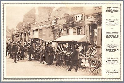 1915 Print WW I Photo Hohenstein Olsztynek Market In Ruins East Prussia Poland