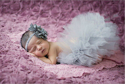 Newborn Baby Girl Mesh Tutu Rainbow Skirt+Headband Photography Prop Photo @02