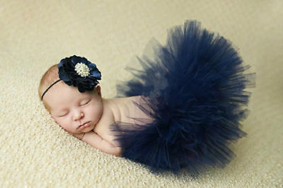 Newborn Baby Girl Mesh Tutu Rainbow Skirt+Headband Photography Prop Photo @04