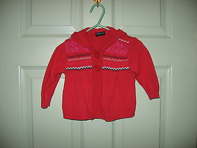 """Girls  Baby  Sweater  With Hood   """"faded Glory""""  Size  6-9 Months  100% Cotton"""