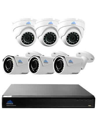 Montavue Commercial Grade Security System with 8 Channel 4K NVR, 6 4MP IP Cam...