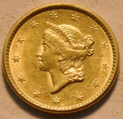 1851 G$1 Type 1 Liberty Coronet One Dollar Gold High Grade Details, Nice Looking
