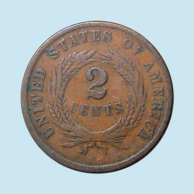 1864 2C SHIELD TWO CENTS LARGE MOTTO U.S.A. United States Civil War era! F! $NR!