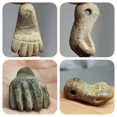 Ancient Rare Stunning Unique 5 fingers lucky stone Amulet   #E2