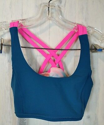 Ivivva By Lululemon Girls Size 14 Vitality Bra Reversible Teal Blue Multi