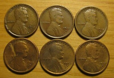 Lot Of (6) 1912 S San Francisco Lincoln Wheat Cents From Penny Collection