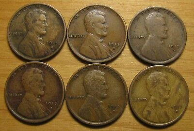 Lot Of (6) 1915 S San Francisco Lincoln Wheat Cents From Penny Collection