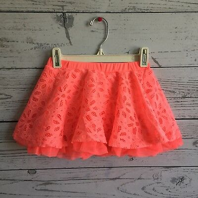 Disney Skirt Skort Girls Size 5T Coral Two layered Lace Skirt with solid Skort