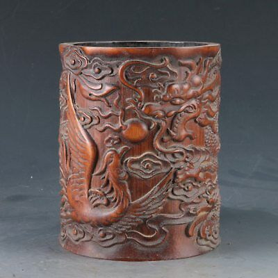 Chinese Bamboo Pole Hand Carved LongFeng Play Beads Brush pot DY0354