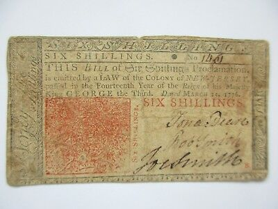Colonial Currency New Jersey March 25 1776 Six Shillings Fine/Very Fine