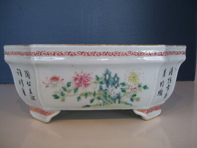 Chinese Porcelain Planter Jardiniere Famille Rose Calligraphy Qing or Republic