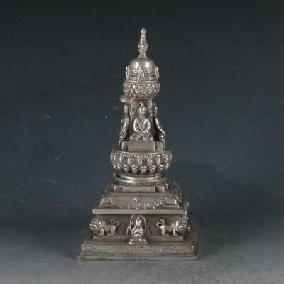 Exquisite Tibetan Silver Buddha&pagoda Incense Burner