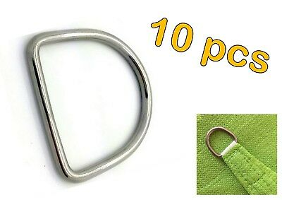 10pcs STAINLESS STEEL 316 DEE D RING MARINE DECK SHADE SAIL - 7mm x 50mm