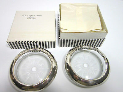 Two Frank M. Whiting & Co Sterling Silver Glass Coasters S. W. Bishop Akron Ohio
