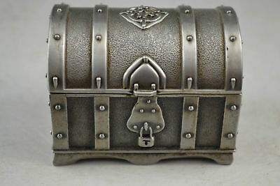 Collectibles Old Decorated Handwork Miao Silver Carving Lock Jewel Box