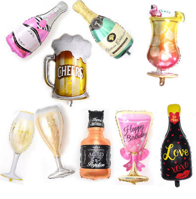 Champagne Bottle Glass Foil Balloons Happy Birthday & Wedding Party Decor Pop