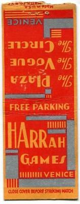 Historic Venica CA HARRAH'S GAMES 1930s rare Casino Matchbook Cover