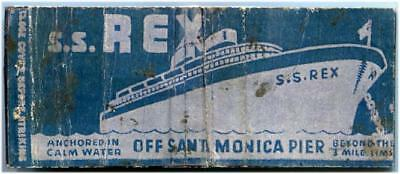 Santa Monica CA 1930s S.S.Rex Gambling Ship Casino scarce Matchbook Matches