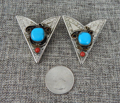 Triangle Wing Shirt Collar Points Metal Silver Tone Turqoise Coral Vintage