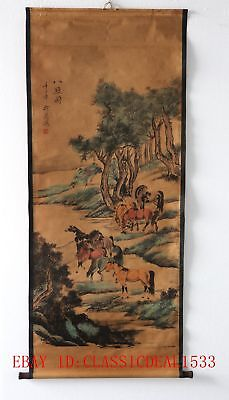 Old Collection Scroll Chinese Painting / Eight Chun Map ZH1020