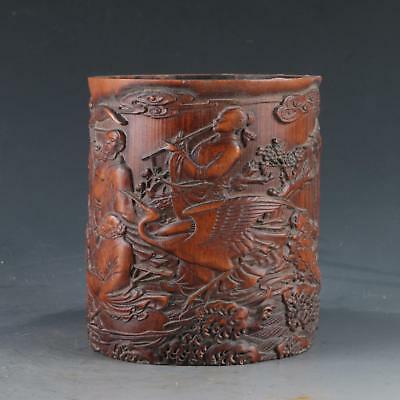 Chinese Bamboo Pole Hand Carved Eight Immortals Cross The Sea Brush pot DY0465
