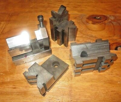 Vintage lot of 4 V Blocks and clamp  Machinist Tools