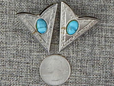 Triangle Wing Collar Points Metal Silver Tone Turqoise Stone Vintage Western