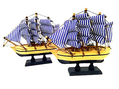 2 x Bamboo Wooden Sail Boat Model Craft Wood Ship Nautical Household Decoration