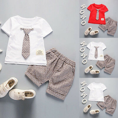 2PCS/Set Toddler Kids Baby Boy Short Sleeve T-shirt Tops+Pants Gentleman Outfits