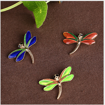 3 Pcs Alloy Oil Drip Dragonfly Jewelry DIY Accessory Pendant Ethnic Style DD3759