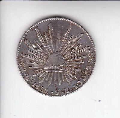 1881 Go S.B. MEXICO SILVER 8 REALES-BEAUTIFUL COIN! SHIPS FREE!
