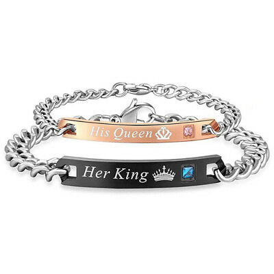Stainless Steel His and Hers Lovers Matching His Queen Her King Couple Bracelet